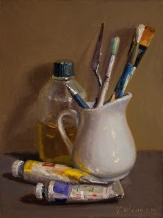 Wang Fine Art: still life with paint and brushes, small painting.Wang Fine Art: still life with paint and brushes, small painting. Still Life Drawing, Still Life Oil Painting, Still Life Art, Still Life Photos, Life Pictures, Art Pictures, Small Paintings, Landscape Paintings, Landscape Art
