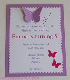 Butterfly Birthday Invitation by PinkPoppyCupcakes on Etsy, $18.00