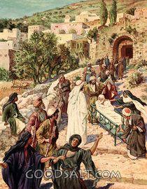 Jesús resucita a un hombre joven de entre los muertos