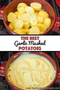 Garlic Mashed Potatoes Recipe Garlic Mashed Potatoes Recipe - Easy Instructions for how to make the best creamy garlic mashed potatoes recipe. Boiled yellow fleshed potatoes, minced garlic, butter and cream. Best Garlic Mashed Potatoes, Mashed Potato Cakes, Perfect Mashed Potatoes, Homemade Mashed Potatoes, Garlic Butter Mashed Potatoes Recipe, Making Mashed Potatoes, Cheesy Potatoes, Baked Potatoes, Corned Beef Sandwich