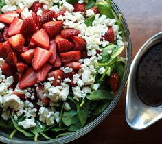 Spinach, Strawberry, Pecan and Feta Salad with Strawberry Vinaigrette -- think I'd add grilled chicken, would be a winner