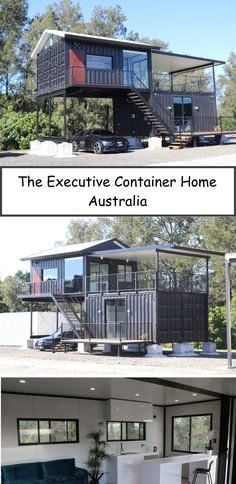 The Executive Container Home – Australia Built from four high cube containers, masterfully designed to take all the advantages of every square inch that comes with utilising the container strengths. Building A Container Home, Container Buildings, Container Architecture, Container House Plans, Architecture Design, Container Home Designs, Container Homes Australia, Australia Living, Australia House