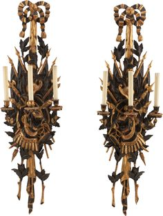 A PAIR OF MILITARY TROPHY TWO-LIGHT WALL SCONCES, circa 1900.
