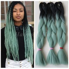 "Find More Bulk Hair Information about 5pcs 100g/pc 24"" Black&Mint/Dull Green Ombre Two Tone Kanekalon Jumbo Box Braiding Synthetic Dreadlocks Hair,High Quality box robe,China hair box packaging Suppliers, Cheap hair accessory box from Splendid Harmony Xtension Hair on Aliexpress.com Black Girl Braided Hairstyles, Black Girl Braids, Girls Braids, Box Braids Hairstyles, Girl Hairstyles, Mint Green Hair, Mint Hair, Colored Box Braids, Big Box Braids"