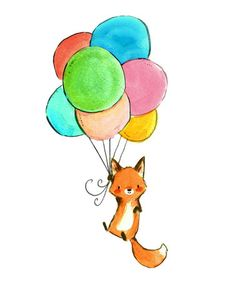 Another great find on #zulily! Fox & Balloons Print #zulilyfinds