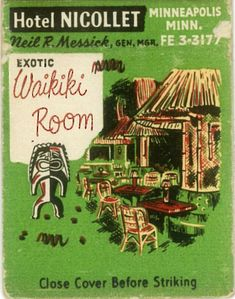 Matchbook from Waikiki Room in Minneapolis date unknown, from the ...