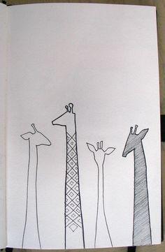 LOVE these little giraffes!!     Sketch by Nicole Regan - Alpha Epsilon Phi Mu <3<3 LIOB Girlfrannnn