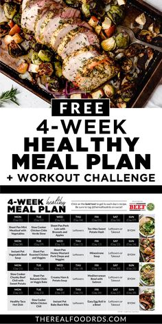 To help you start the year off right we've created a free 4-Week Healthy Meal Plan!! A full 4-week healthy meal plan PLUS grocery list to make it as easy as possible for you! PLUS to make it even better, we've teamed up with our favorite fitness trainer who put together a 4-Week Workout Challenge that includes a new workout for each day (minimal equipment needed, less than 45 minutes!), full-length videos and workouts that can be completed in the comfort of your own home! Meal Prep Menu, Meal Prep Guide, Week Workout, Workout Challenge, Whole 30 Recipes, Real Food Recipes, Healthy Eating Meal Plan, Healthy Food, Sweet Kale Salad