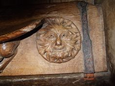 Winchester Cathedral. Green Man detail on misericord.