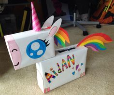 { Rainbow Unicorn Valentine's Box }   Made using cereal boxes, craft paper, tape, and fast drying glue. Design inspired from a fold your own unicorn calendar.