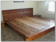 DIY platform beds - DIY bed made from reused wood - just do it yourself bed projects . - The Best Latex Mattresses - DIY platform beds – DIY bed made from reused wood – just make it yourself bed projects … – - King Platform Bed Frame, King Size Bed Frame, Wood Platform Bed, Diy King Bed Frame, Cheap Platform Beds, Diy Queen Bed Frame, Diy Platform Bed Plans, Build Bed Frame, Making A Bed Frame