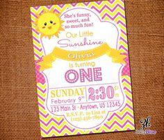 Sunshine Girl Birthday Invitation Girl First Birthday Yellow Pink Chevron Modern Typograhic Birthday Invitation - Digital File on Etsy, $10.00