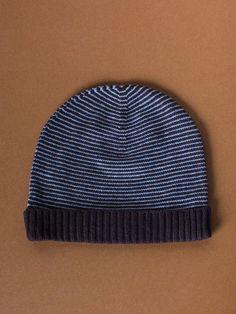 Blue & Brown Cashmere Stripa Hat by Sophia Costas