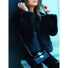 Black Collarless Open Front Faux Fur Coat (745 ZAR) ❤ liked on Polyvore featuring outerwear, coats, open front coat, collarless coat, imitation fur coats, faux fur coat and faux coat