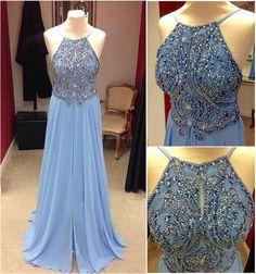 Chiffon prom dress, backless prom dress, light blue chiffon long prom dress with beautiful top details