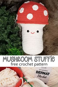 The Bernat Mushroom Stuffie is a cute and very cuddly friend you can crochet with Bernat Blanket! Easy to customize and perfectly huggable, it's a new free crochet pattern - video tutorials included! via @moogly Modern Crochet Patterns, Crochet Patterns For Beginners, Crochet Patterns Amigurumi, Square Patterns, Knitting Patterns, Knitting Projects, Crochet Projects, Crochet Crafts, Crochet Ideas