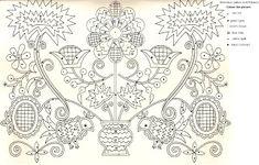 rábaközi hímzések színező - embroidery patterns from Rábaköz for colouring in Chain Stitch Embroidery, Embroidery Stitches, Machine Embroidery, Hungarian Embroidery, Folk Embroidery, Learn Embroidery, Embroidery Designs, Stitch Head, Antique Quilts