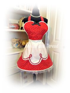 I love Lucy handmade retro womans apron fits just by mimisneedle, $48.00