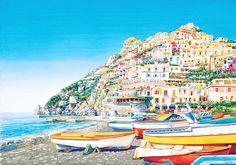 Spiaggia di Positano  - Vittorio Mansi - STAMPA SU TELA € 31,08