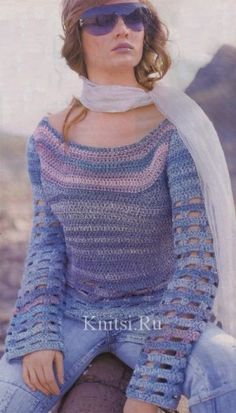 Pink and blue pullover