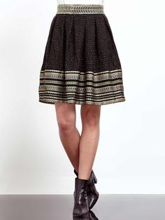 A-Line tweed metallic skirt with jacquard border