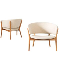 Nanna Ditzel Set of Two Lounge Chairs in Teak and Off-White Fabric