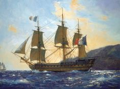 """Le Bucentaure,"" by Geoff Hunt. This 80-gun ship was Vice-Admiral Villeneuve's flagship at the Battle of Trafalgar."