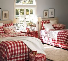 bold red and white check and toile on beds. pottery barn.