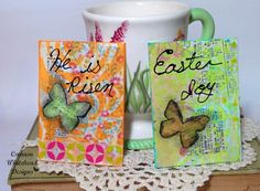 Easter is just around the corner and Spring crafts are so popular right now. This week I decided to create some Easter inspired ATC cards with paints, stencils, scrapbook paper and even some washi… Spring Projects, Spring Crafts, Scrapbooking, Scrapbook Paper, Mixed Media Tutorials, Atc Cards, Pocket Letters, Artist Trading Cards, Stencils