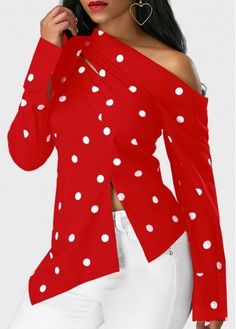Stylish Tops For Girls, Trendy Tops, Trendy Fashion Tops, Trendy Tops For Women Stylish Tops For Girls, Trendy Tops For Women, Polka Dot Print, Polka Dots, Blouse Dress, Red Blouses, Blouse Styles, Long Sweaters, Plus Size Outfits