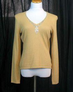 Inc Gold Silk Angora Crystal Sequin V Neck Sweater L Womens Size Large | eBay