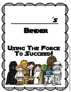 """These binder covers are perfect for any Star Wars themed classroom - There are two styles and both read """"Using the force to succeed""""! Design #1 says: ____________'s Homework Binder, Design #2 says: ____________'s Binder.(suitable for any binder)"""