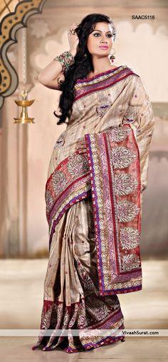 Fawn Pure Bhagalpuri Silk Saree