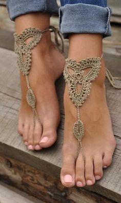 Handmade crochet barefoot sandals von AWiredBird auf Etsy