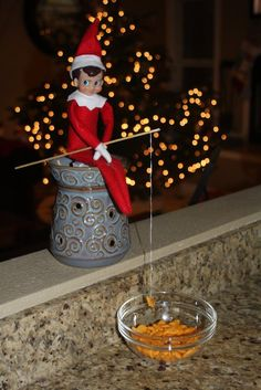 Elf on the Shelf - We found our elf fishing this morning. Holiday Fun, Holiday Crafts, Holiday Decor, All Things Christmas, Christmas Holidays, Happy Holidays, Christmas Ideas, Shelf Paper, Elf Magic