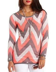 Long Sleeve Chevron Tunic Sweater: Charlotte Russe