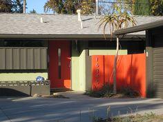 mid century modern #crestviewdoors #orange #exterior