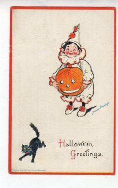H280 Postcard Halloween Artist Signed Frances Brundage Clown with JOL Black  Cat