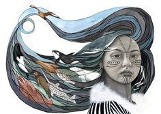 The goddess Sedna, in Inuit mythology, rules both the Underworld and the creatures of the sea. Inuit Kunst, Arte Inuit, Inuit Art, Native Art, Native American Art, American Spirit, Art Magique, Goddess Of The Sea, Goddess Art