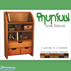 "simwolfworld: "" Sulani Themed Bookcase I needed a bookcase that fitted in with the decor in my Bird of Paradise off the grid home and noticed that not only does IL not come with any bookcases, but the."
