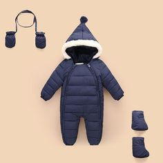04ef2d82b6b5 3pcs set Baby rompers Winter baby Girl Warm Clothes Boys Outerwear Kids  Jumpsuit Baby Down