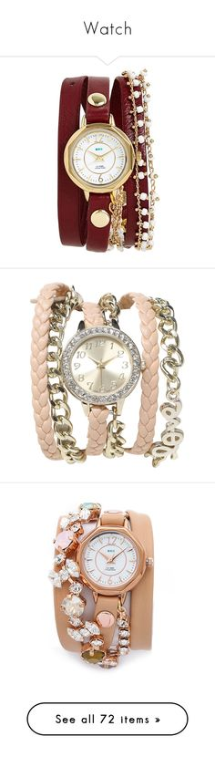 """Watch"" by dorastyles-clxiv ❤ liked on Polyvore featuring watch, jewelry, watches, accessories, bracelets, relogio, burgundy, la mer jewelry, chain link watches and beaded watches"