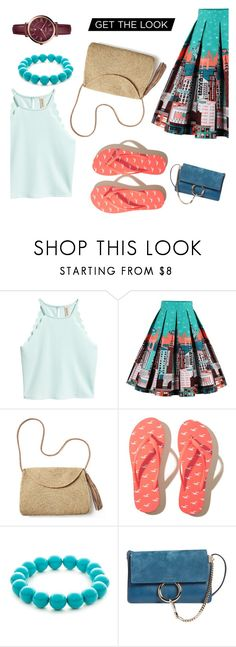 """city on my skirt"" by raziyemhmdi ❤ liked on Polyvore featuring Mar y Sol, Hollister Co., Kim Rogers, Chloé and FOSSIL"