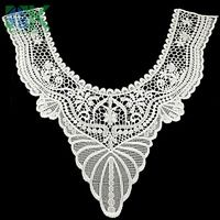 Lace collar U- lace collar small wave milk white Embroidered Lace Neckline Collar Lace Venice Venise Applique Motif Patches Scra