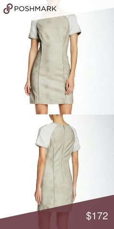 """TART • Vegan Suede Dress NWT! Taupe Vegan Suede Dress by TART  - Jewel neck - Short contrast raglan sleeves - Back zip closure - Faux leather construction - Approx. 34"""" length  Fiber Content: Faux leather / shell: 100% PU Contrast: 63% polyester, 35% rayon, 2% spandex Care: Professional dry clean  🚫No Trades 🙄😘  🔘Use OFFER button to negotiate👍🤑 🔘Please Ask ❓'s BEFORE you Buy🤔😃 💕Thank you for stopping by! Happy Poshing!💕 Tart Dresses"""