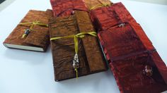 Handmade silk notebooks with ribbon and bead tie now Notebooks, Ribbon, Gift Wrapping, Tie, Wallet, Beads, Gifts, Handmade, Tape