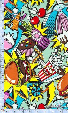 Alexander Henry Midnight Snack colorful print retro