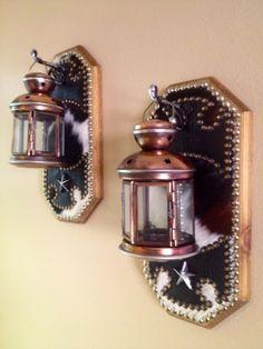 WESTERN DECOR COWHIDE TEA LIGHT CANDLE LANTERN WOOD WALL SCONCES | Western Decor by Signature Cowboy