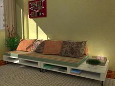 repurposed pallet sofa with storage
