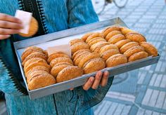These chewy, sandwiched coconut macaroons are most often found as a street food in Moroccan souks.